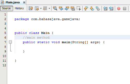 memberi main method pada java class netbeans
