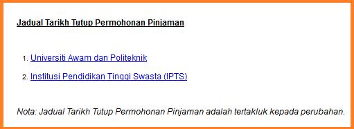 Jadual tarikh tutup permohonan PTPTN untuk IPT