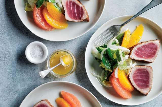 Coriander-Seared Tuna with Citrus and Fennel Salad Recipe