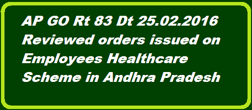 Health, Medical & Family welfare – Employees Health Scheme and Medical Reimbursement system under APIMA Rules 1972 – Reviewed the  Scheme and arrival of certain decisions - Orders – Issued. http://www.paatashaala.in/2016/02/ap-go-rt-83-employees-healthcare-scheme-orders-issued.html
