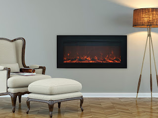 A classic style wall recessed electric fireplace with a matte black frame and screened front.