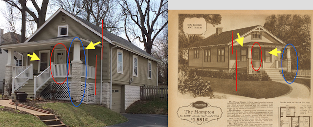 Sears Hampton model at 2611 Rockford Avenue Brentwood MO compared to catalog image