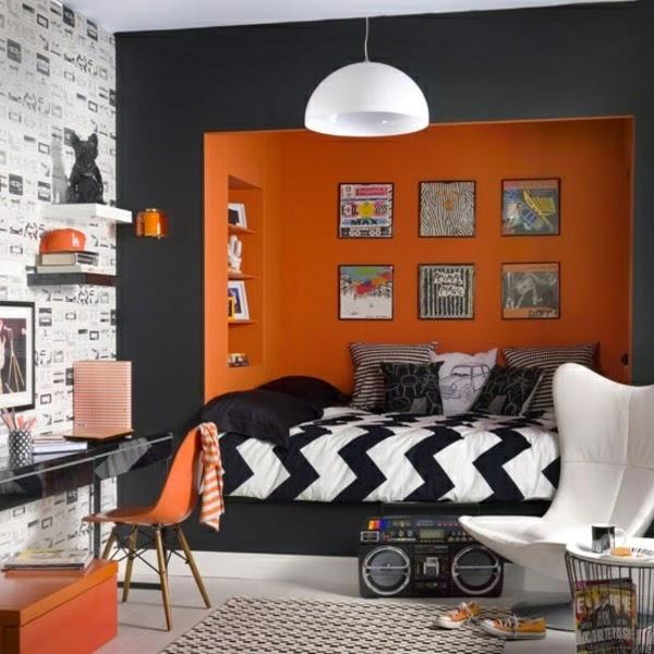 Dormitorios juveniles en naranja y gris dormitorios - Habitaciones con dos camas ...