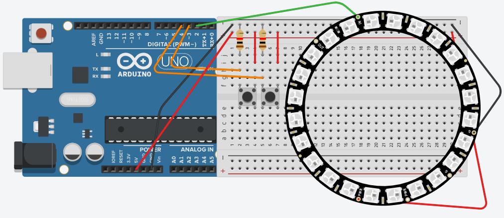 雲林SONG: Tinkercad Circuits:NeoPixel Ring 水流模擬