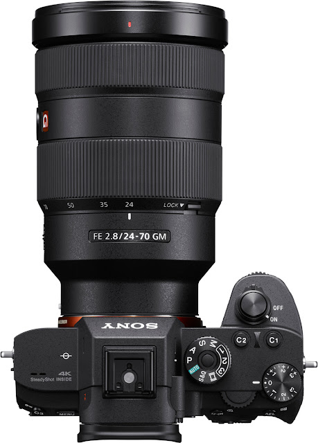 The Sony a7R III mirrorless camera with a 24-70mm f/2.8 G master lens attached