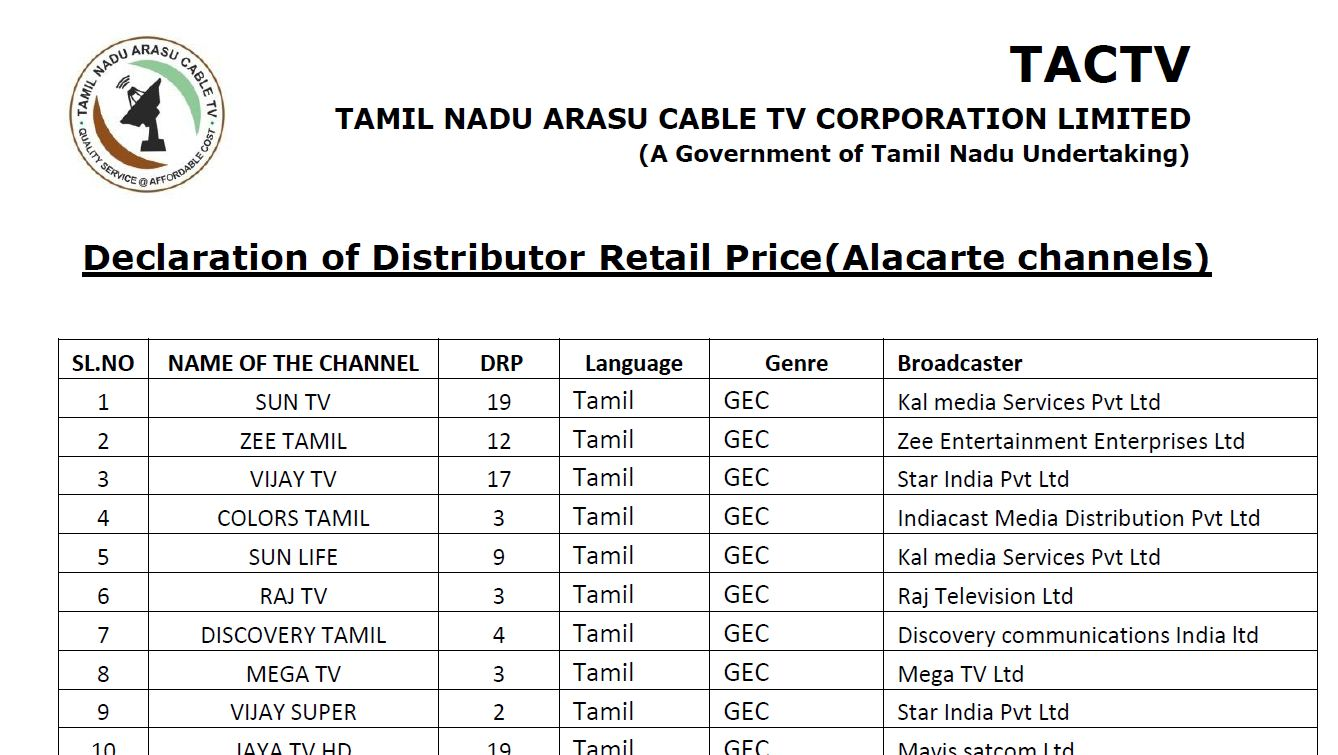 Arasu Cable Tv Channels List 2019 Tactv Channel Price And Package