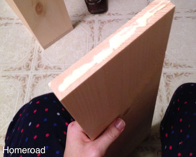 gluing boards then screwing them together to build a slide out cabinet