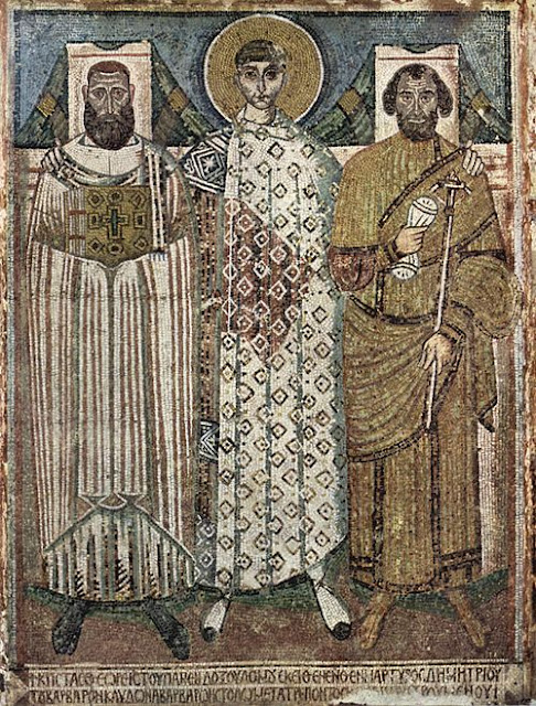 Saint Demetrius with Archbishop John and regional governor,Leondis , Thessaloniki, mosaic, 650