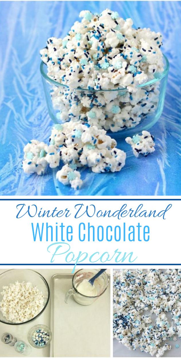 Winter Wonderland White Chocolate Popcorn #dessert #candy