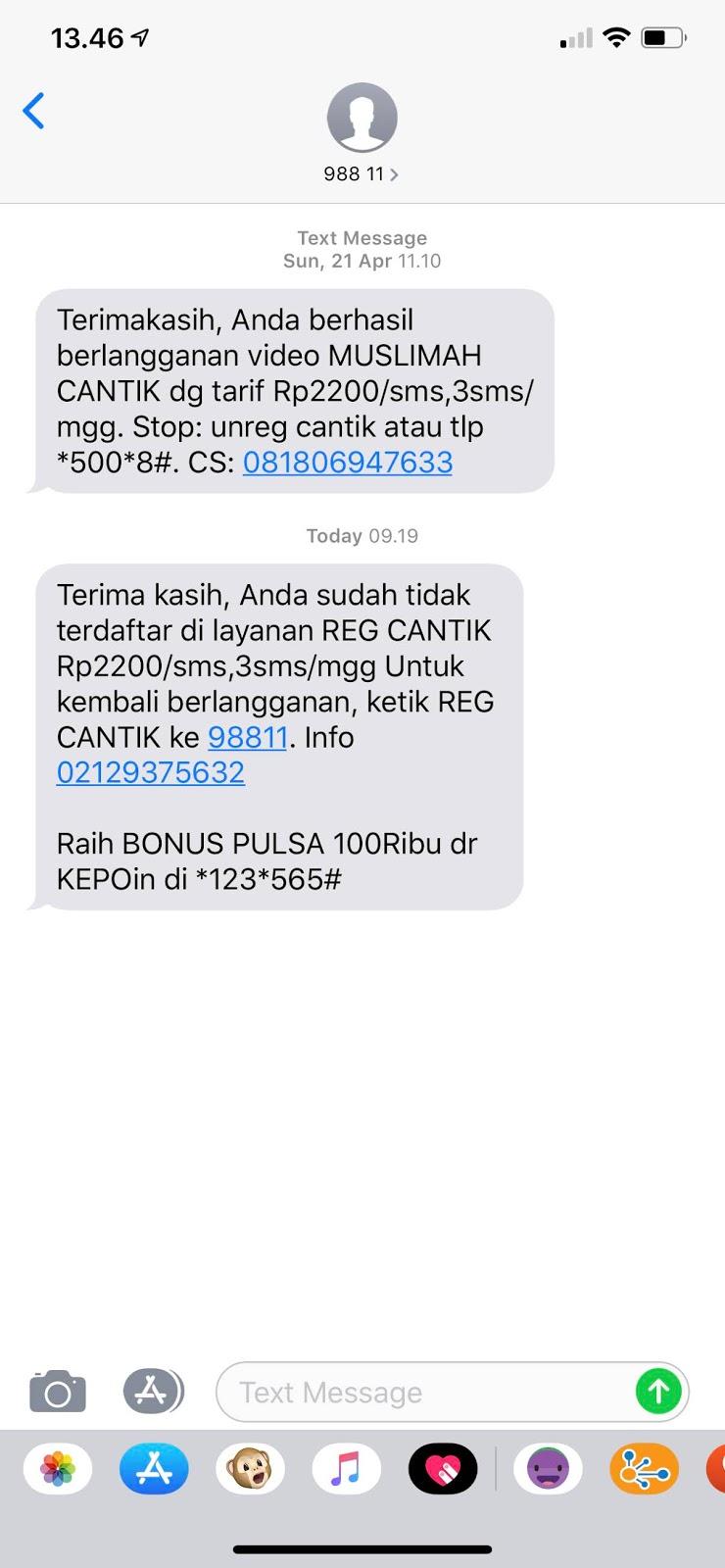 Sms Penipuan Dari 98811 Ke Nomor Xl