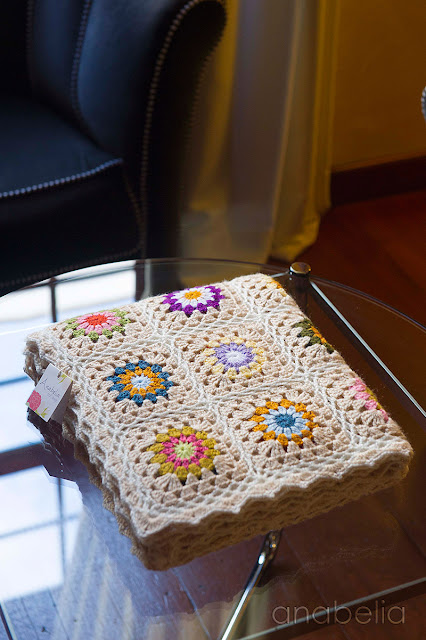 Sofa-sized crochet square blanket by Anabelia Craft Design