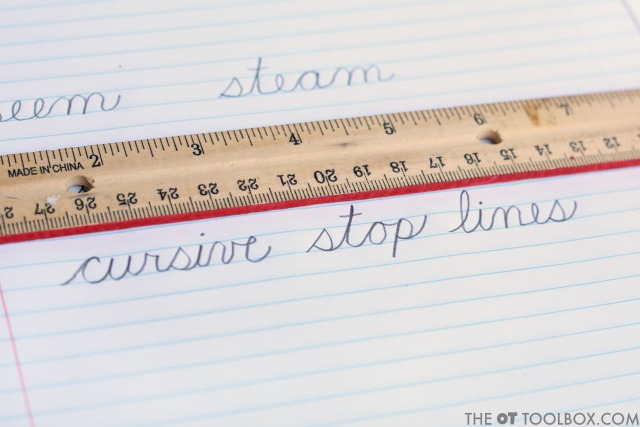 Color the edge of a ruler to work on handwriting letter size tricks to help kids with cursive legibility and consistent cursive handwriting.