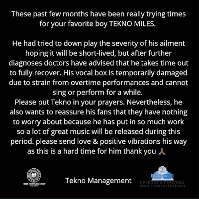 Tekno's management releases statement on the state of his health