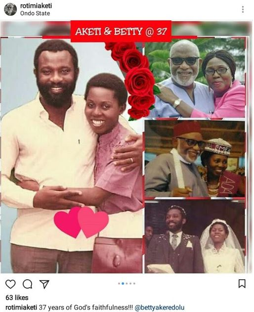 Gov. Akeredolu & Wife Celebrate 37th Wedding Anniversary With Throwback Photos