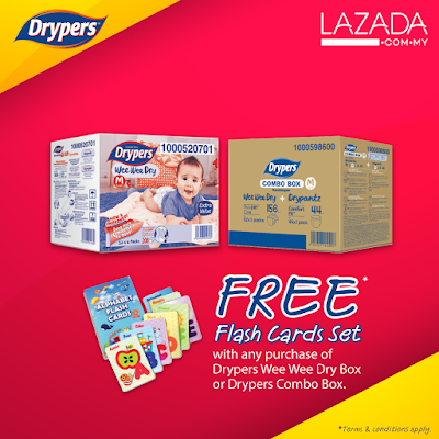 Lazada Drypers Wee Wee Dry Box OR Drypers Combo Box Free Alphabet Flash Card