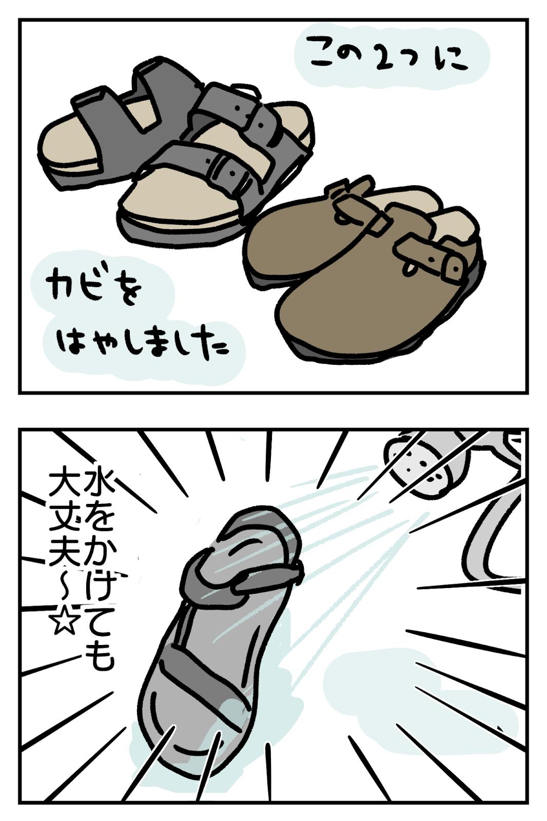 水に濡らしてカビを生やしたサンダルは数知れずだけどテバ(teva)サンダルなら大丈夫2コマ漫画