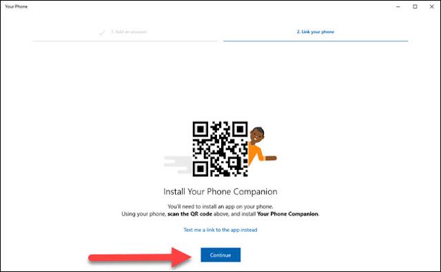 يطالبك تطبيق الكمبيوتر الشخصي على الهاتف بتثبيت تطبيق android مع الإشارة إلى السهم للمتابعة.