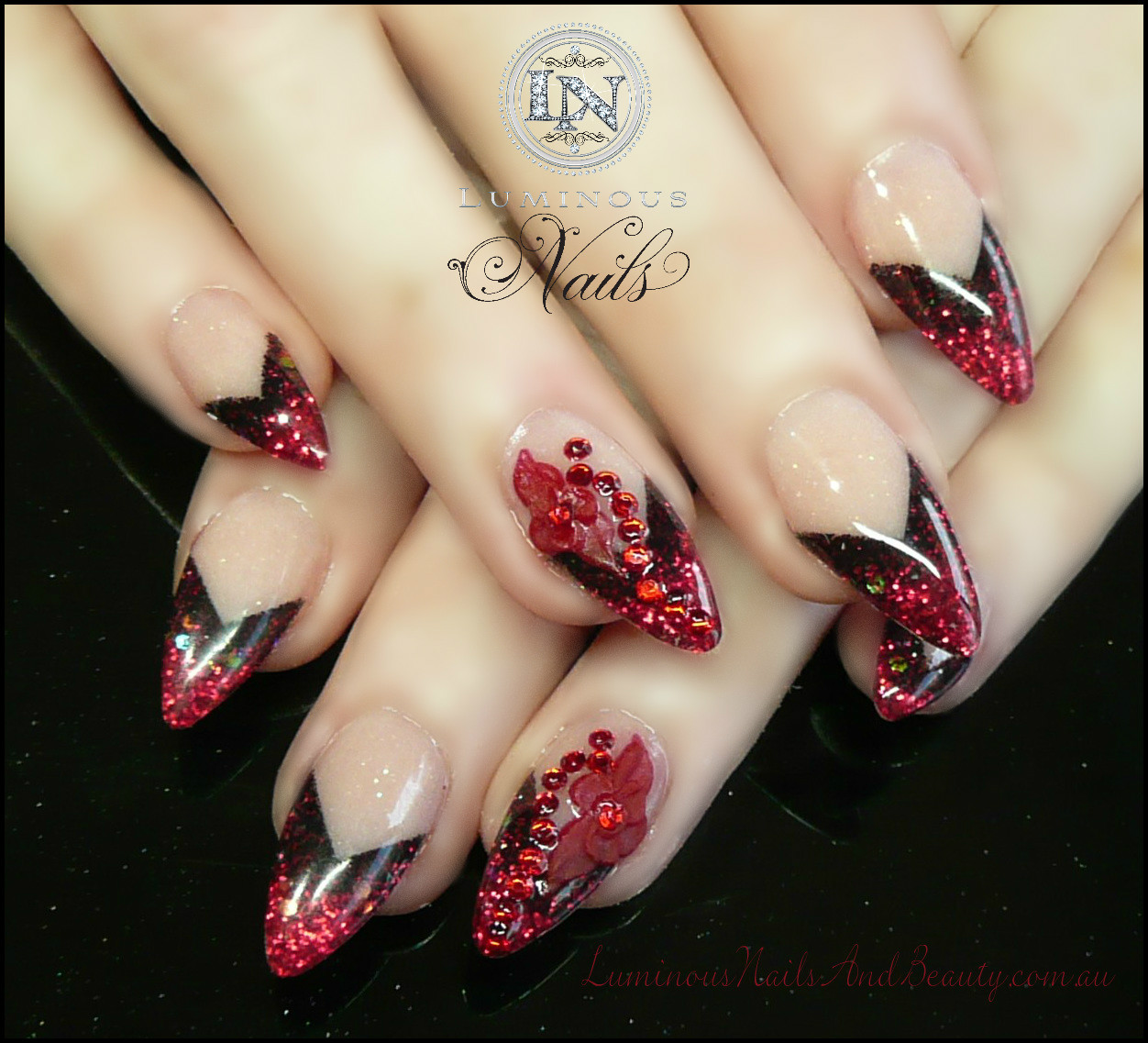 Nails Art Black And Red Stilettos: Luminous Nails: February 2013