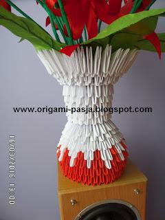 wazon, origami 3d, papier, tulipany