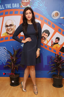 Actress Mannara Chopra Stills in Blue Short Dress at Rogue Song Launch at Radio City 91.1 FM  0071.jpg