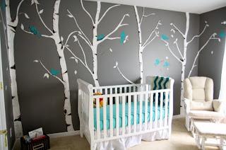 Dormitorio bebé color gris turquesa