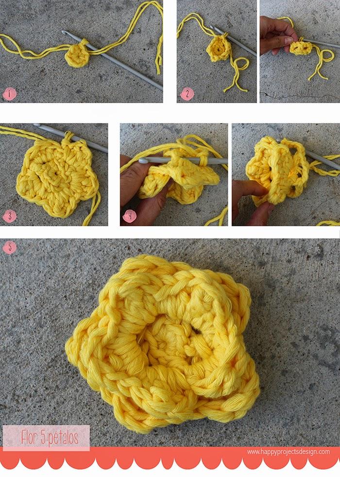 Crochet flor 5 pétalos