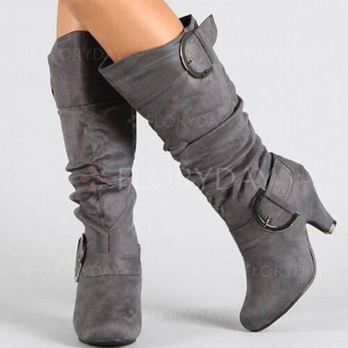 Buckle Zipper Round Toe Kitten Heel Shoes