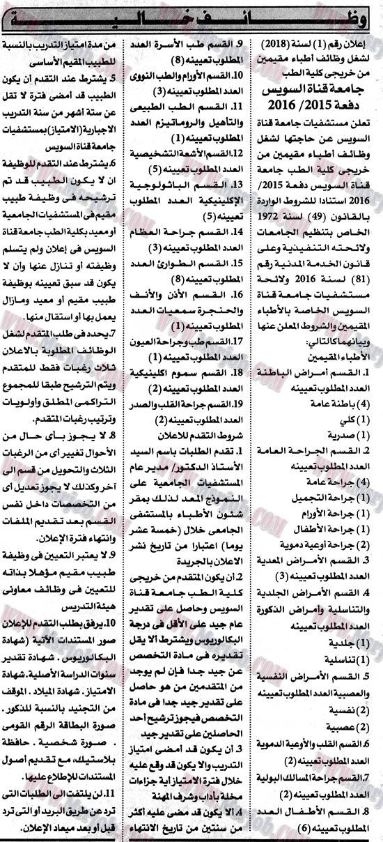 اعلان وظائف جامعة قناة السويس - اعلان رقم 1 لسنة 2018 وظائف اطباء مقيمين