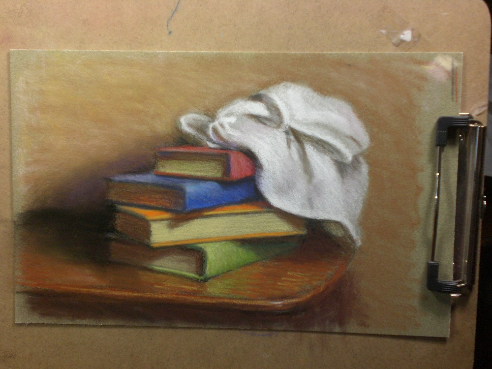 My Drawing Journal Stack Of Books Pastel Drawing