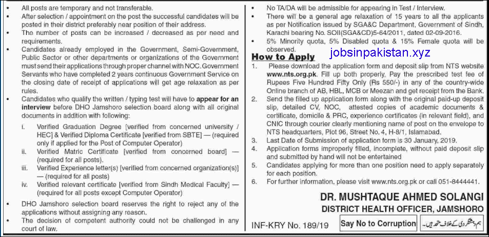 Advertisement for Health Department Sindh Jobs