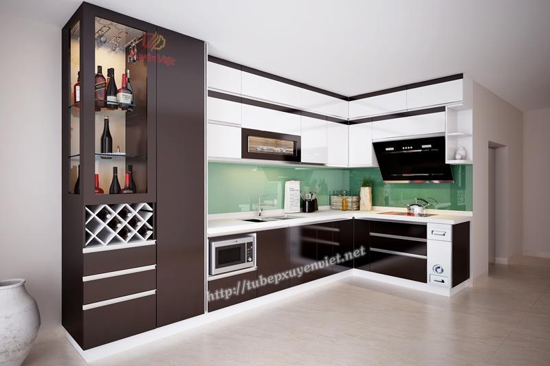 Mẫu tủ bếp đẹp làm bằng nhựa pvc Xuyên Việt