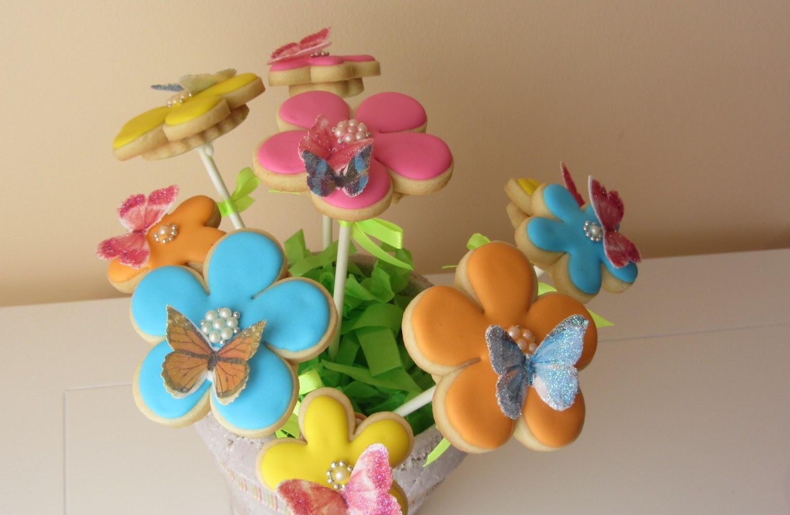 El Taller De Mela Preciosas Galletas Flores Con Mariposas