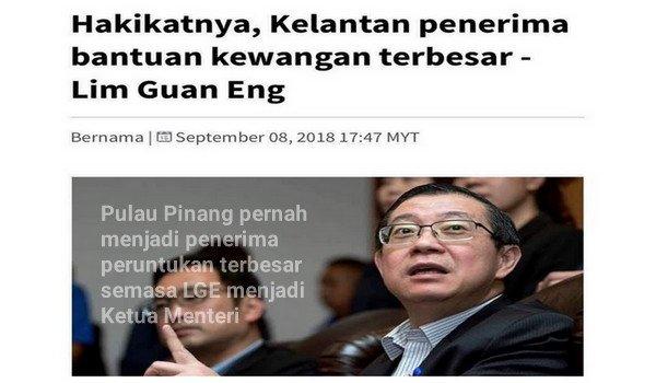 Lim Guan Eng memburukkan negeri Kelantan