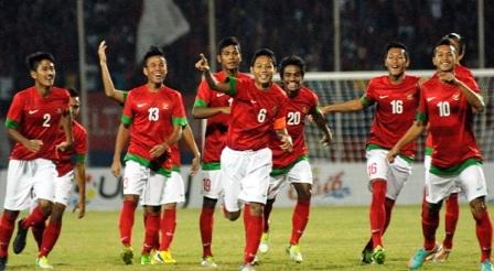 Selebrasi Timnas U-19 Setelah mencetak Gol ke gawang thailand