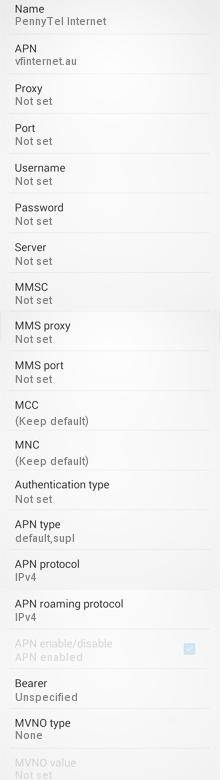 Pennytel Internet and MMS Settings for Android