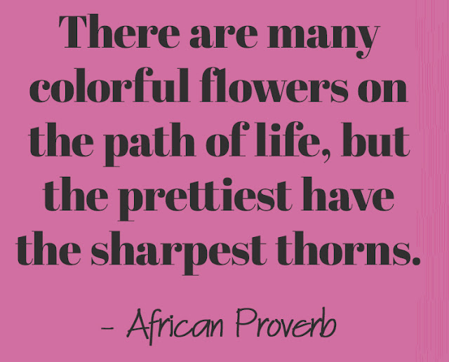 There are many colorful flowers on the path of life, but the prettiest have the sharpest thorns. - African Proverb