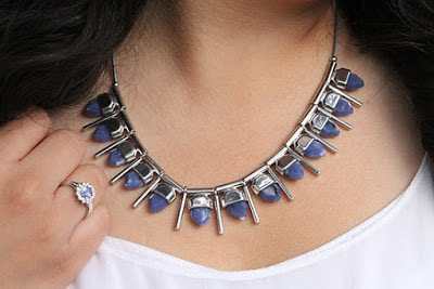 French Connection Blue Spiked Necklace from Le Tote