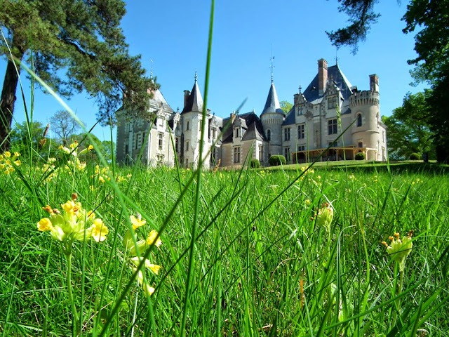 The back of the Chateau de Cande.  Indre et Loire, France. Photographed by Susan Walter. Tour the Loire Valley with a classic car and a private guide.