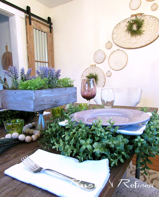 Winter Tablescape using purples and white.