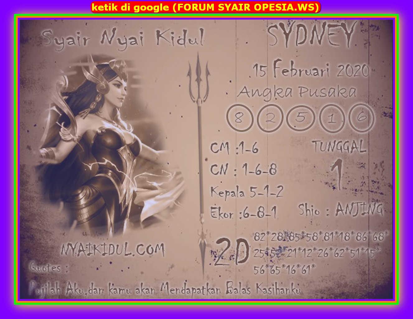 Kode syair Sydney Sabtu 15 Februari 2020 92