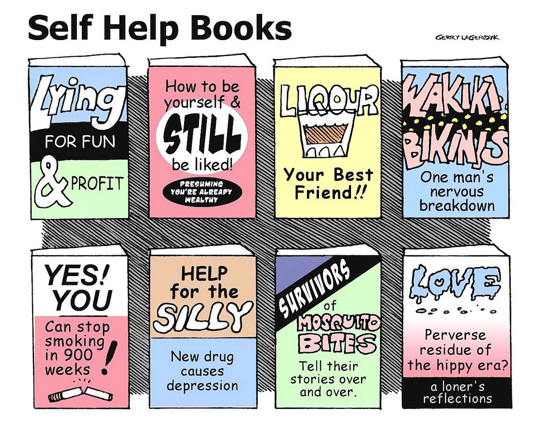 Self Help Books parody, cartoon, Lying for Fun & Profit
