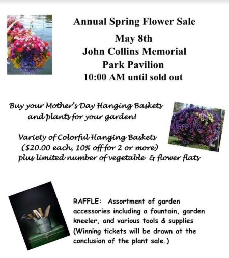 5-8 Annual Spring Flower Sale At John Collins Memorial Park Pavilion