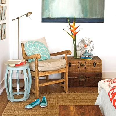 coastal orange bedroom
