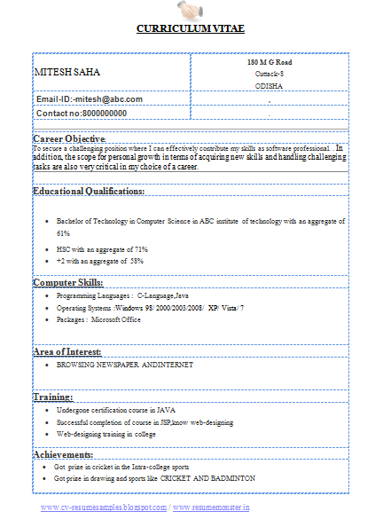 Sample Resumes And Templates Aie Over 10000 Cv And Resume Samples With Free Download