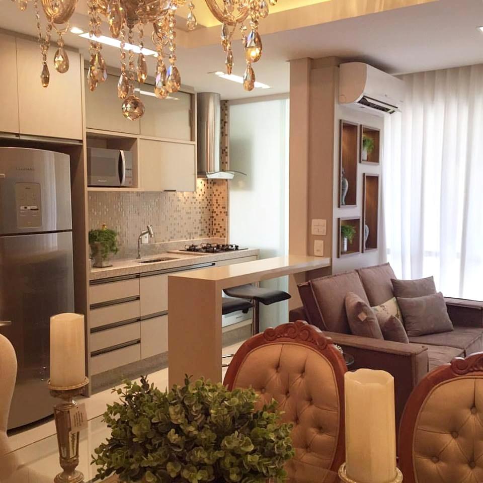 Salas e cozinha integradas no apartamento pequeno e luxuoso! Jeito de Casa Blog de Decoraç u00e3o  -> Decoração De Pequenos Apartamentos Fotos