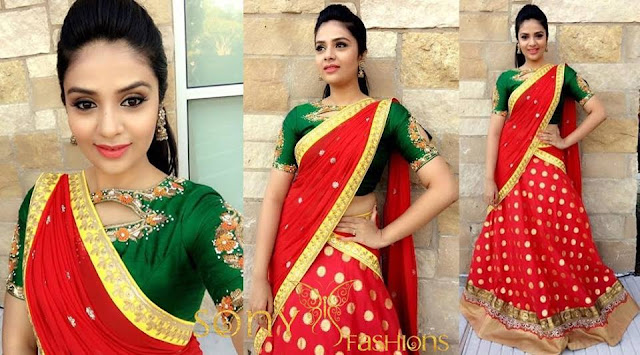 Shreemukhi Red Half Sari By Sony Reddy