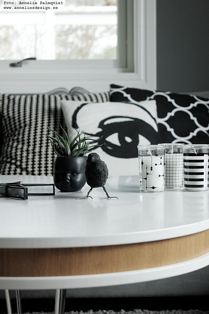 svartvit, svartvita kuddar, svart och vitt, elce stockholm, glaslyktor, ljus i grafiska glas, koltrast, ansikte kruka, kaktus, ljushållare, soffbord, tygsoffa, webbutik, webbutiker, webshop, inredning, annelies design, inredning, varberg, vardagsrum, vardagsrummet, grå, gråa, grått, grafiskt,