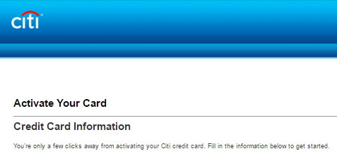 Activate New Citibank Debit Card or Credit Card