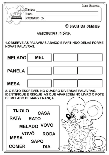 Caderno de Atividades O Pote de Melado da Obra de Eliardo e Mary França.