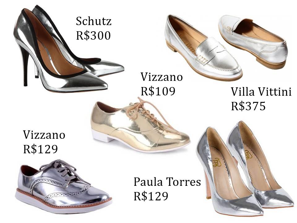 Sapatos metalizados - onde comprar - Cris Felix